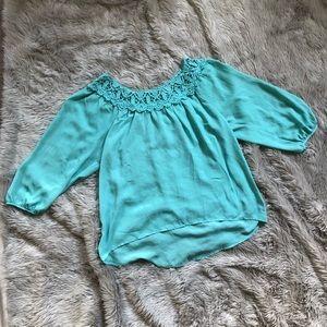 • turquoise lace chiffon shirt •